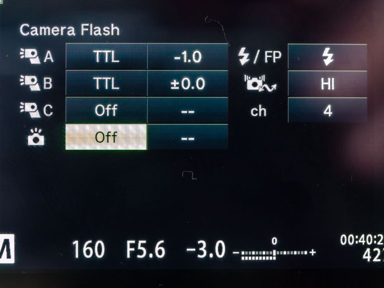 Control of on camera flash
