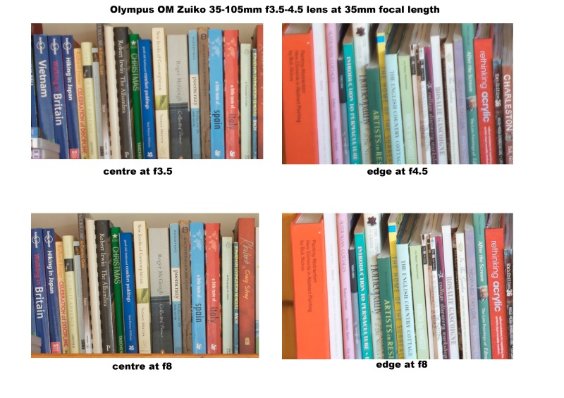 Comparison chart of the Olympus OM Zuiko 35-105mm f3.5-f4.5 shot at 35mm focal length wide open and then at f8.