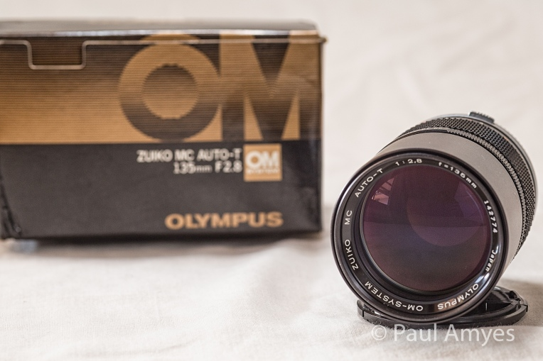 The Olympus OM Zuiko 135mm f2.8 fresh out of the box. Even though it is thirty years old it is brand new, never having been used.
