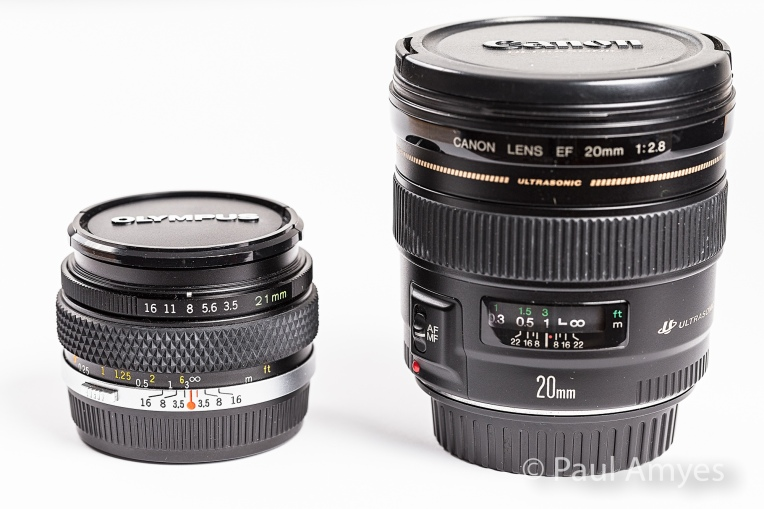 A comparison between the Olympus OM Zuiko 21mm f3.5 and the Canon EF 20mm f2.8.